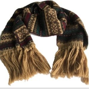 Levi's tan green red extra long fringe cotton scarf